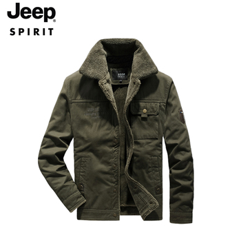 JEEP jacket winter men's thickened plus velvet cotton casual jacket cotton jacket cotton jacket lapel high quality clothes