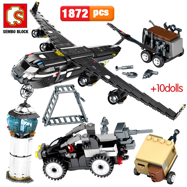 SEMBO 1872PCS SWAT Team Transport Aircraft Building Blocks Military Airplane City Police Figures Bricks Educational Toys Boys