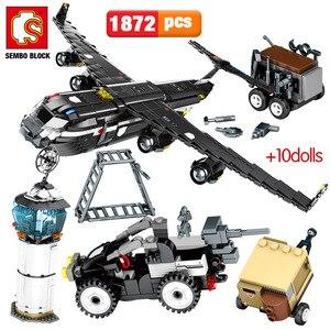 SEMBO 1872PCS SWAT Team Transport Aircraft Building Blocks Military Airplane City Police Figures Bricks Educational Toys Boys(China)
