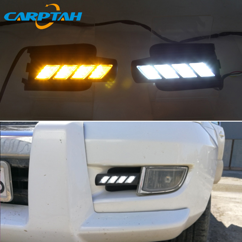 Светодиодные дневные ходовые огни для Toyota Land Cruiser Prado 120 FJ120 водонепроницаемый желтый указатель поворота светодиодный бампер DRL