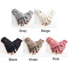 1 Pair Soft Half Finger Women Mittens Gloves Knitted Thicken Artificial Wool Thermal Autumn Winter Hand Warmer Flip Gift