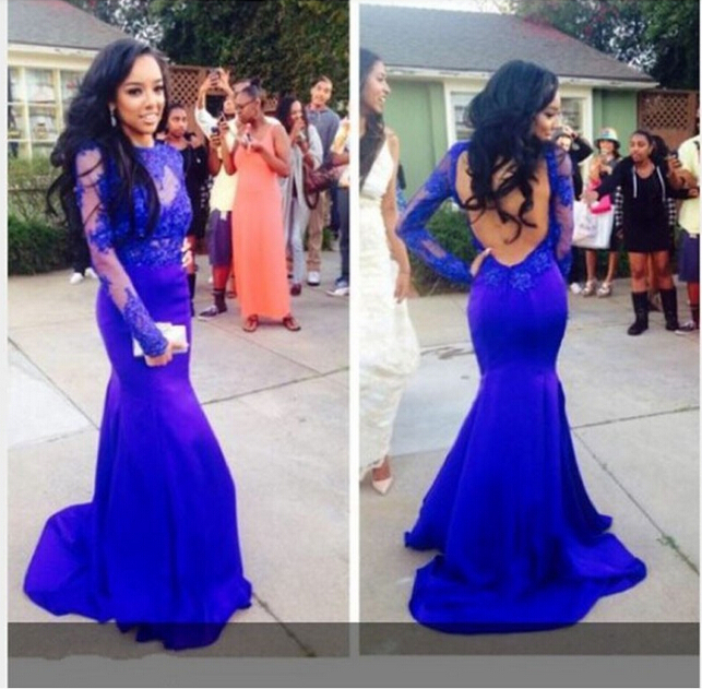 Sexy Open Back Long Sleeves Royal Blue Mermaid Lace Evening Prom Gown 2018 Vestidos Para Festa Mother Of The Bride Dresses