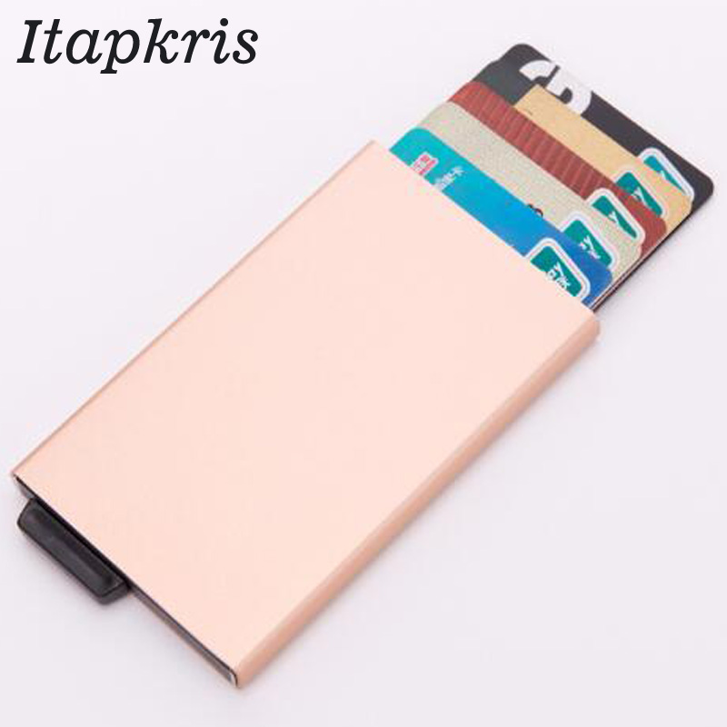 Aluminum Men Credit Card Holder Pocket Blocking  Pop Up Case Fashion Business RFID Wallet High Quality Travel CardHolder Black