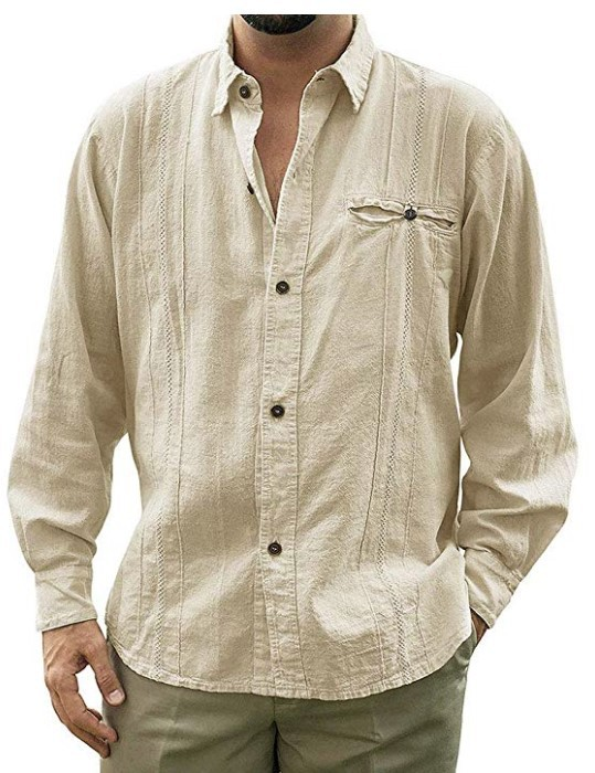 UK Men Cotton Linen Casual Turn-down Collar Long Sleeve Loose Solid Shirts Casual Blouse M-3XL