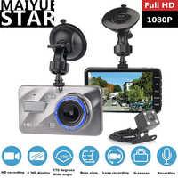 Maiyue star 4 pulgadas IPS full HD 1080 p del coche DVR de la micro-Cámara de doble lente de la cámara grabadora de vídeo g-Grabadora de sensor de visión