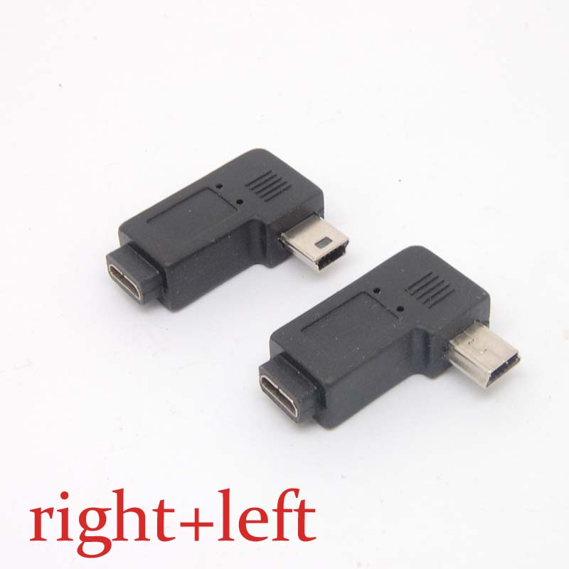 Mini USB Type A Male To Micro USB B FeMale 90 Degree Right/left Angle Adapter