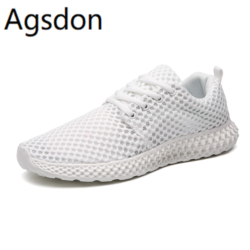 2020 Shoes Men Summer Breathable Men Shoes Sneakers Comfortable Lightweight Mesh Shoes Lace Up High Quality Plus Size White