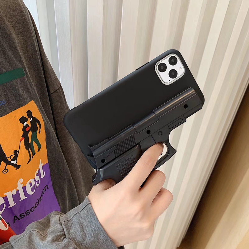 Luxury <font><b>3D</b></font> interesting Gun Phone <font><b>Cases</b></font> for <font><b>iphone</b></font> 11 Pro Max <font><b>X</b></font> XS Max XR 7 8 plus Soft <font><b>Silicone</b></font> pistol Toy Phone Back Cover image