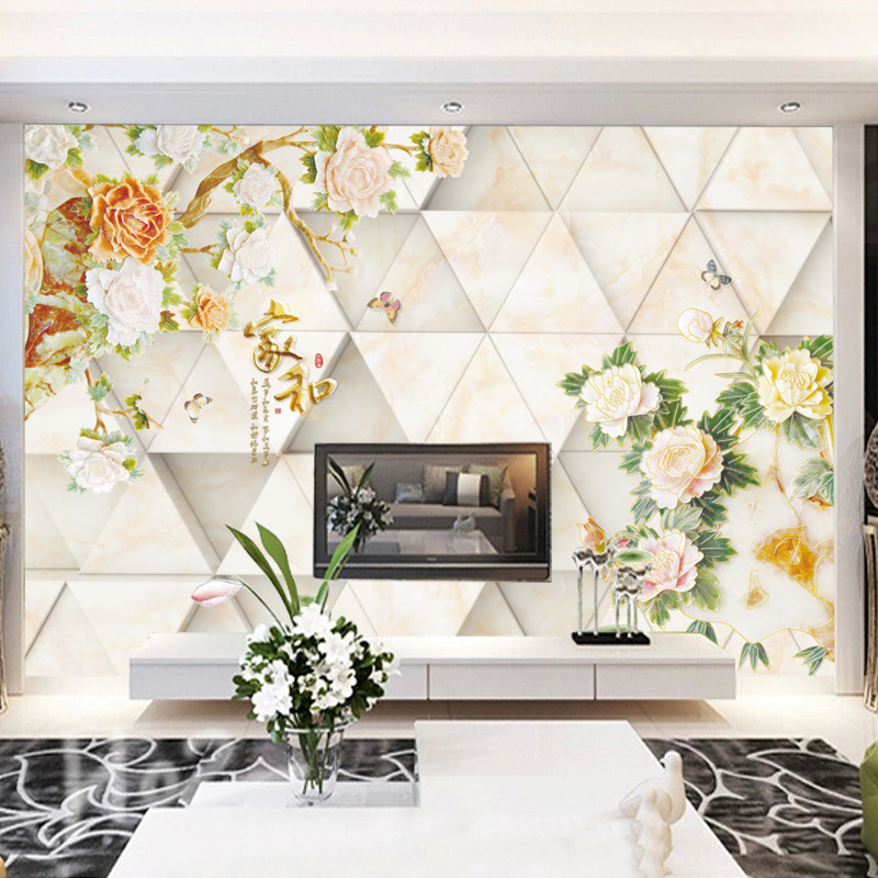 3D Chinese Style Faux Marble Wallpaper Mural Whole Piece Seamless Mural Non-woven Wallpaper And Rich