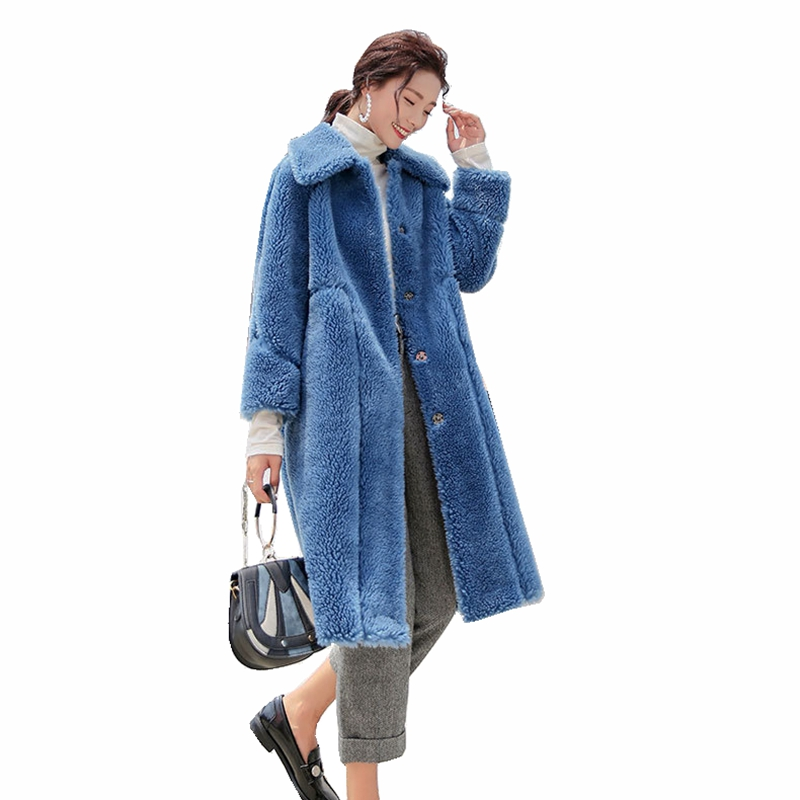Luxus Echte Wolle Pelz Mantel Winter Frauen Pelz Oberbekleidung Mantel LF9048