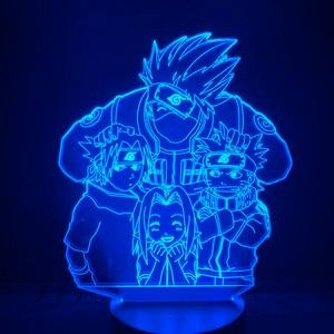 Image 5 - Led gece lambası Naruto karikatür çocuklar Kakashi Sasuke Sakura japon Manga Anime dostluk komik sensörü lambası gece lambası 3d lamba