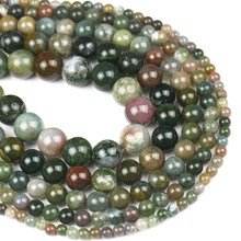 NATURAL STONE Indian Agate Loose Round Spacer Beads Charm For Jewelry Making DIY Handmade Bracelets Necklace 4 6 8 10 12MM 15