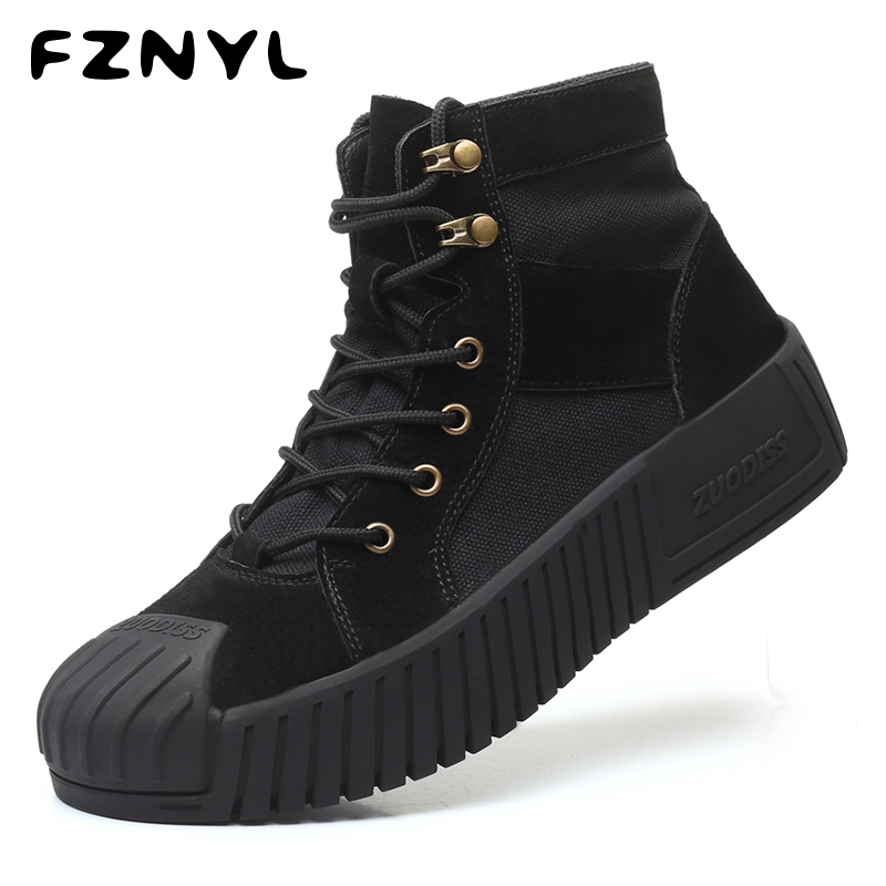 FZNYL Fashion Men Boots High Quality Pigskin+Canvas Ankle Work Boots Shoes High-Tops Lace-Up 2019 Autumn Shoes Plus Size 38-44