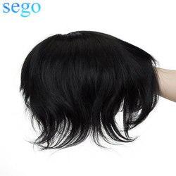 SEGO Gerade 0,08mm PU Dünne Haut Männer Toupets Durable Haarteile Indisches Haar Nicht-Remy Echt Menschliches Haar Männer der Perücke ersatz