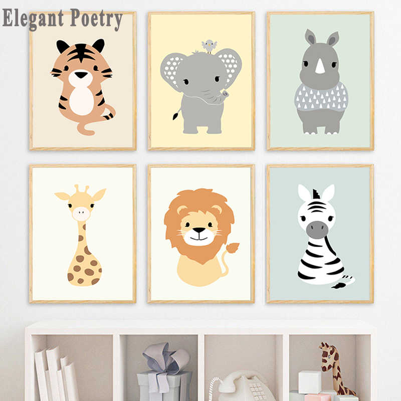 Zebra Animal Tiger Elephant Nursery Wall Art Canvas Painting Nordic Posters And Prints Wall Pictures Baby Kids Room Decor