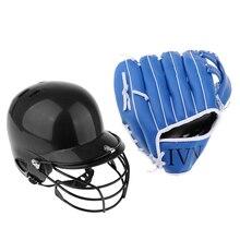 1 комплект прочный ABS корпус Бейсбол удары защитный шлем и из искусственной кожи бейсбол софтбол утолщаются перчатки синий метатель