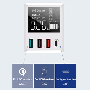 Image 2 - QC3.0 Fast Charging Type C USB Charger 4 Ports Portable Phone Charger 30W LED Display For iPhone Samsung Travel Wall Charger