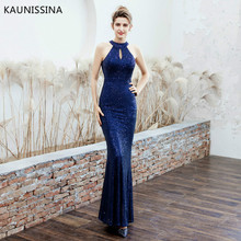 KAUNISSINA Luxury Long Evening Dresses Mermaid Sequins Party Proms Sleeveless Halter Neck Bodycon Formal Gown Robe Real Photo
