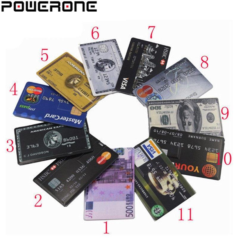 Powerone Waterproof Super Slim Credit Card USB Flash Drive Pen Drive 4GB 8GB 16GB 32GB 64GB Bank Card Model Memory Stick