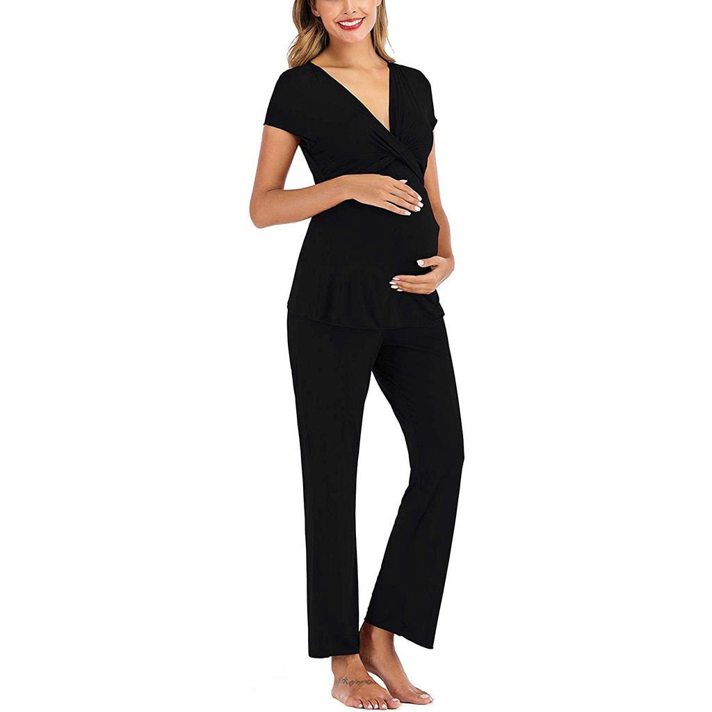 Pregnant Women Layered Maternity & Nursing Pajama Capri Set V NECK Cotton Hospital Set Pregnancy Breastfeeding Sleepwear