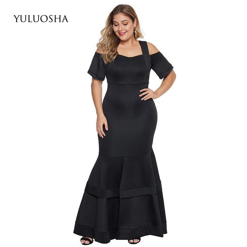 YULUOSHA Plus Size Dress Mother Of The Bride Dresses A-Line Ruffles Backless Evening Gown Black With Sleeve Vestidos Madre Novia