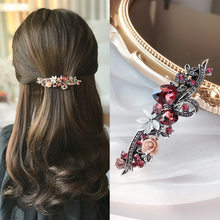 Hair Clips for Women Retro Crystal Flower Hairpin Light Luxury Fashionable Elegant Hair Accessories for Women Jewelry Wholesale