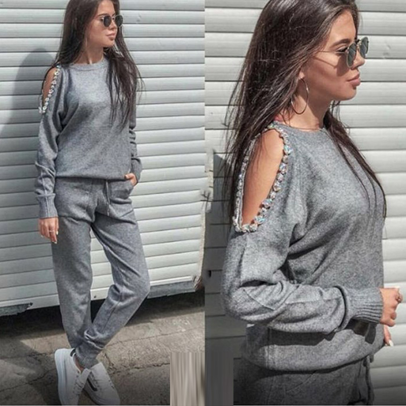 Sparkle Diamonds Open Shoulder Sweater Suits Top+Knitted Pants Two Piece Set Female Winter Costumes Track Suit For Women
