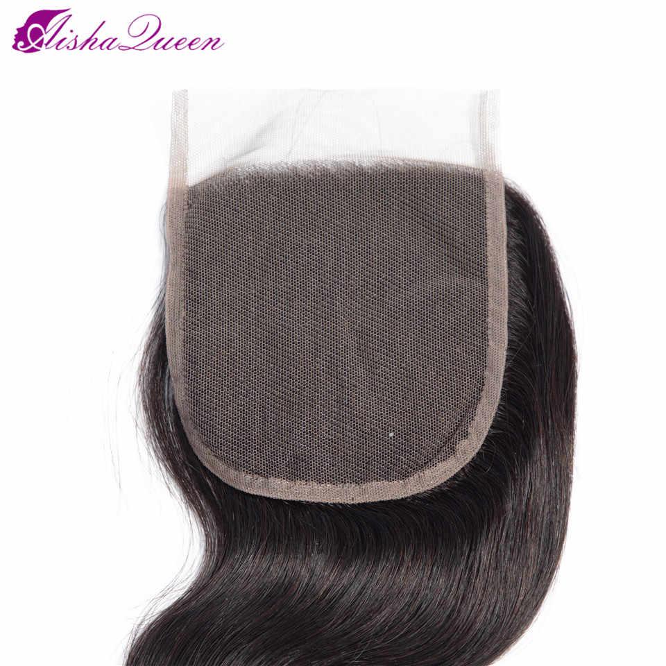 Brasilianische Menschliches Haar Verschluss 4*4 Spitze Verschluss Körper Welle schweizer Spitze Verschluss 8-20 Inch Kostenloser/mittleren Teil Nicht Remy Haar Weben