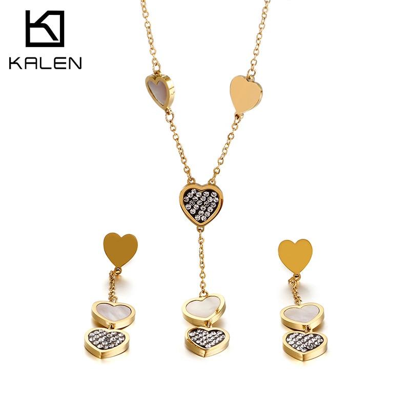 KALEN Femme Romantic Heart Long Pendant Neckalces Drop Earrings Sets For Women Zircon Shell Stainless Steel Mujer Jewelry Sets