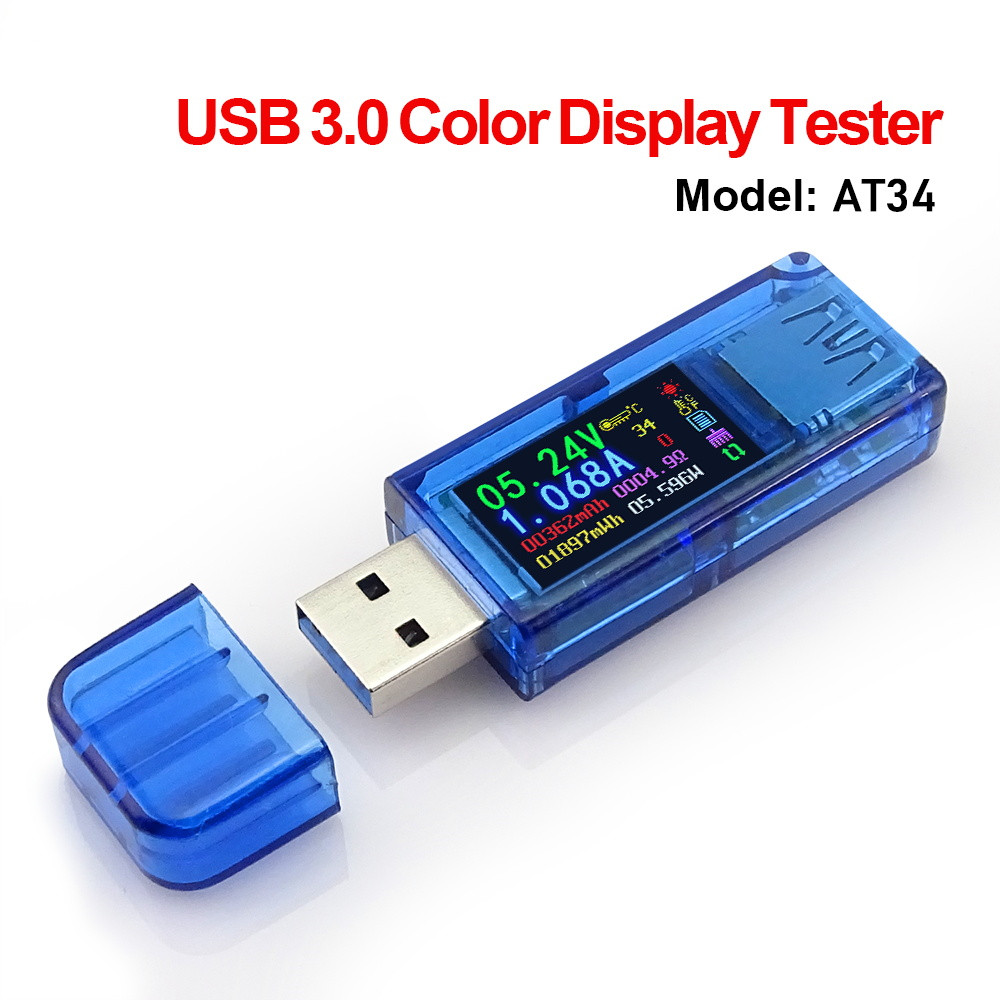 <font><b>USB3.0</b></font> Color LCD Display Voltage Current Power Battery Charge Measuring Meter Multifunctional USB Tester image