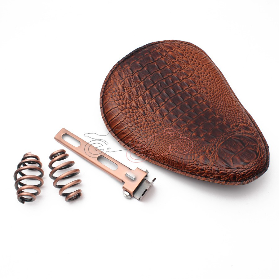 For Harley Custom Chopper Bobber Leather Saddle Seat Motorcycle Retro Brown Crocodile PU Leather Solo Seat+3