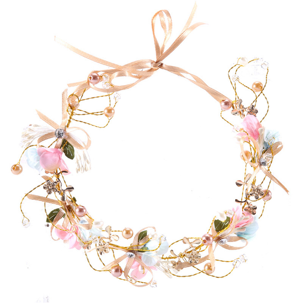 Bridal Floral Hair Accessories Flower Headband Handmade Bow Flower Headdress Romantic Hairband Pink Color Bridal Headwear