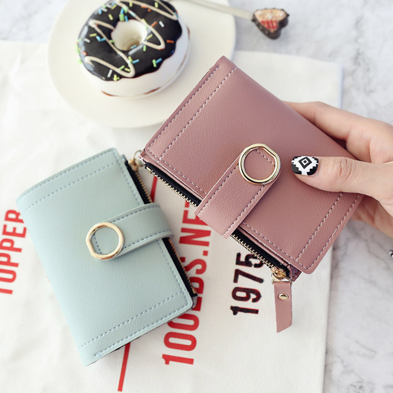 Small Women Wallets Slim Fashion Brand Leather Purse Ladies Card Money Clip Bag 2019 Clutch Female Purse Thin Wallet Vallet Pink