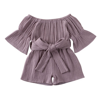 (0-4Y) Infant short sleeve frill cotton and linen strap bodysuit summer trend linen off-the-shoulder ruffled bow jumpsuit S4 overlay frill cutout shoulder tee