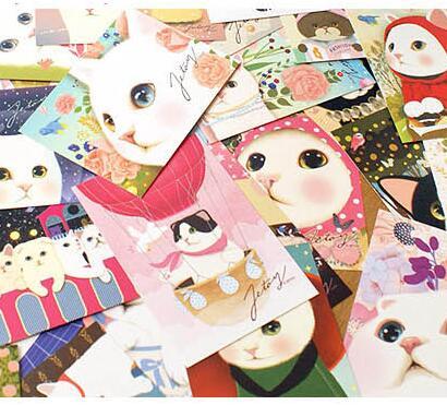 5 unids/lote caricaturesca postales de gato amigos tarjeta de invitación para fiesta regalo de Año Nuevo