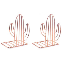 2PCS/Pair Creative Cactus Shaped Metal Bookends Book Support Stand Desk Organizer Storage Holder Shelf Rose Gold| |   -
