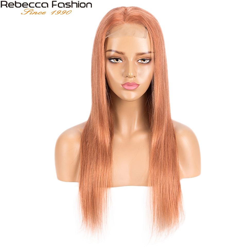 Rebecca Blonde Orange Lace Wig Straight 4x4 Closure wig Human Hair Wig with Baby Hair Pre-plucked Lace Front Wig 8-30inch