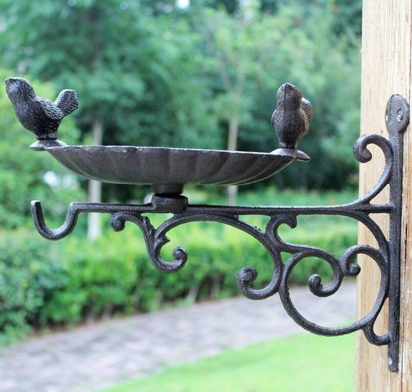 Cast Iron Crafts Wrought Iron Hook Double Bird European Style Garden Hanging Blue Hook Bird Food Basin Decorative Hook