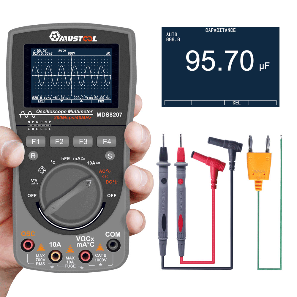 MUSTOOL MDS8207/MT8206 Intelligent 2 In 1Digital 40MHz 200Msps/S Oscilloscope 6000Counts True RMS Multimeter Upgraded Type