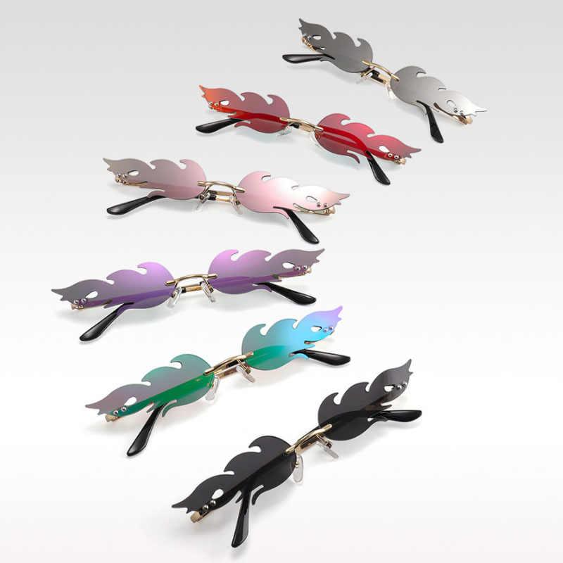 2020 nouveau feu flamme femmes lunettes de soleil feu flamme Sunglasse hommes sans monture vague lunettes de soleil lunettes de luxe tendance étroite StreetWear