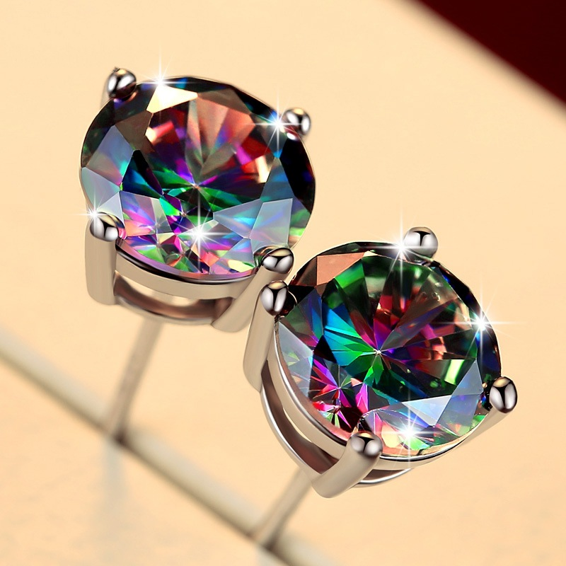 New fashion exquisite S925 square round seven-color geometric jewelry men's engagement wedding gift earrings