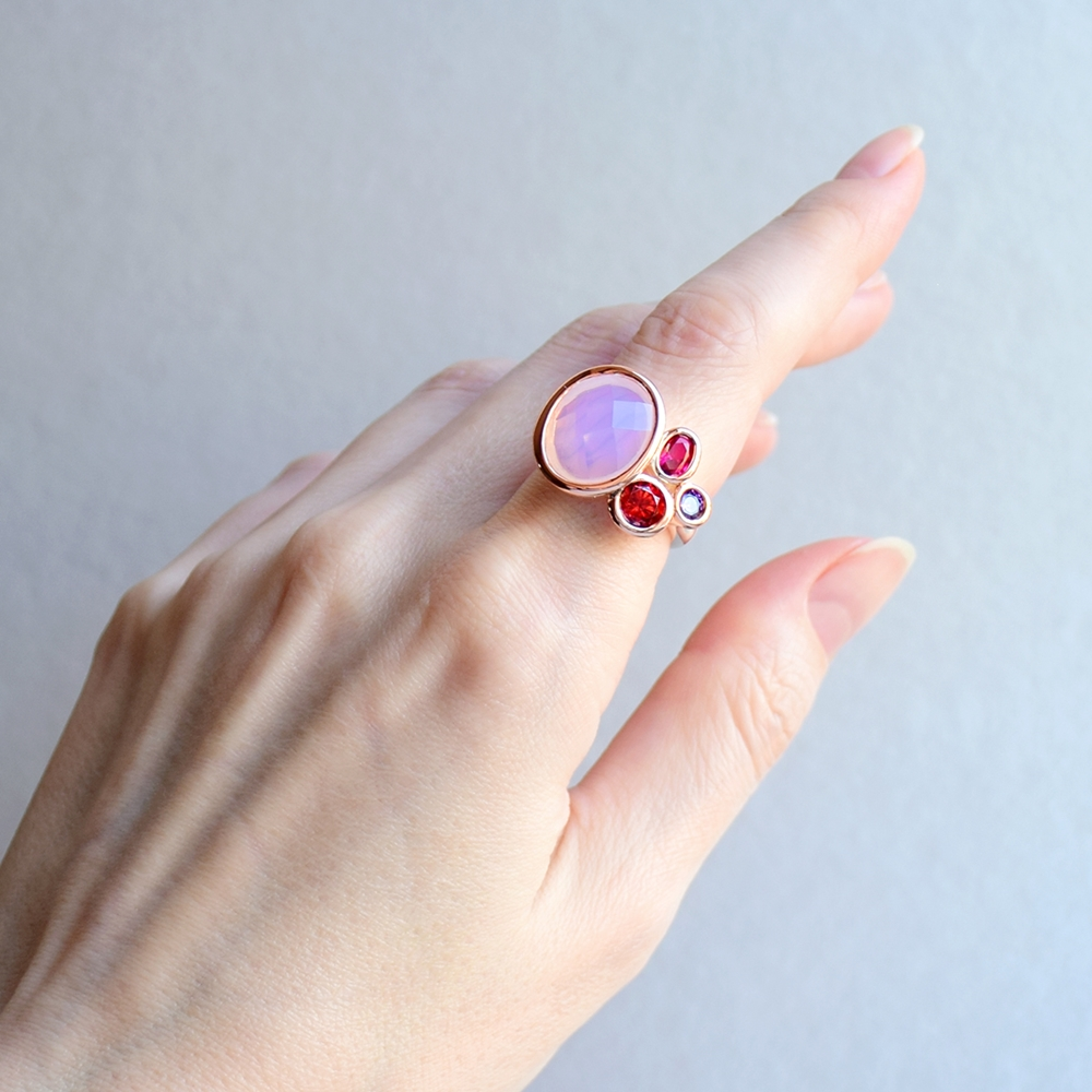 WA11703 DreamCarnival1989 Dazzling Pink Tone Zirconia Rings for Women Top Quality Radiant Cut CZ Chic Fashion Wedding Jewelry (2)