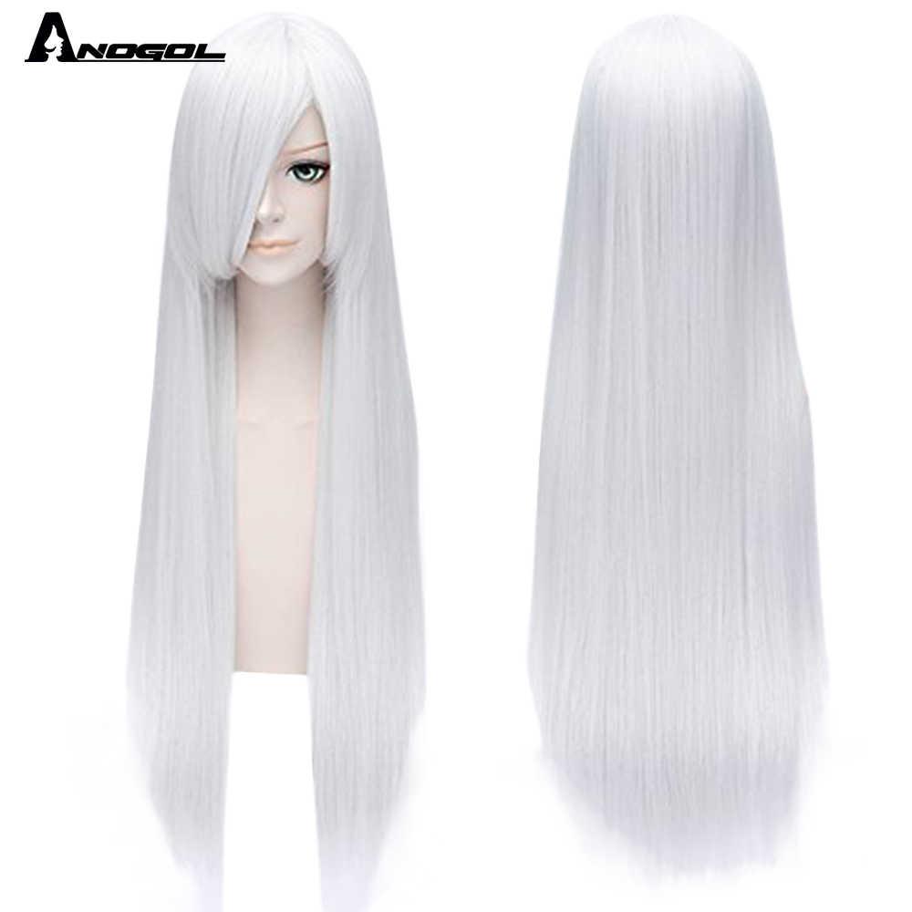 Anogol Pure White czarny czerwony pomarańczowy blond szary niebieski różowy czarny brązowy żółta, długa sukienka prosta peruka syntetyczna dla kobiet z grzywką