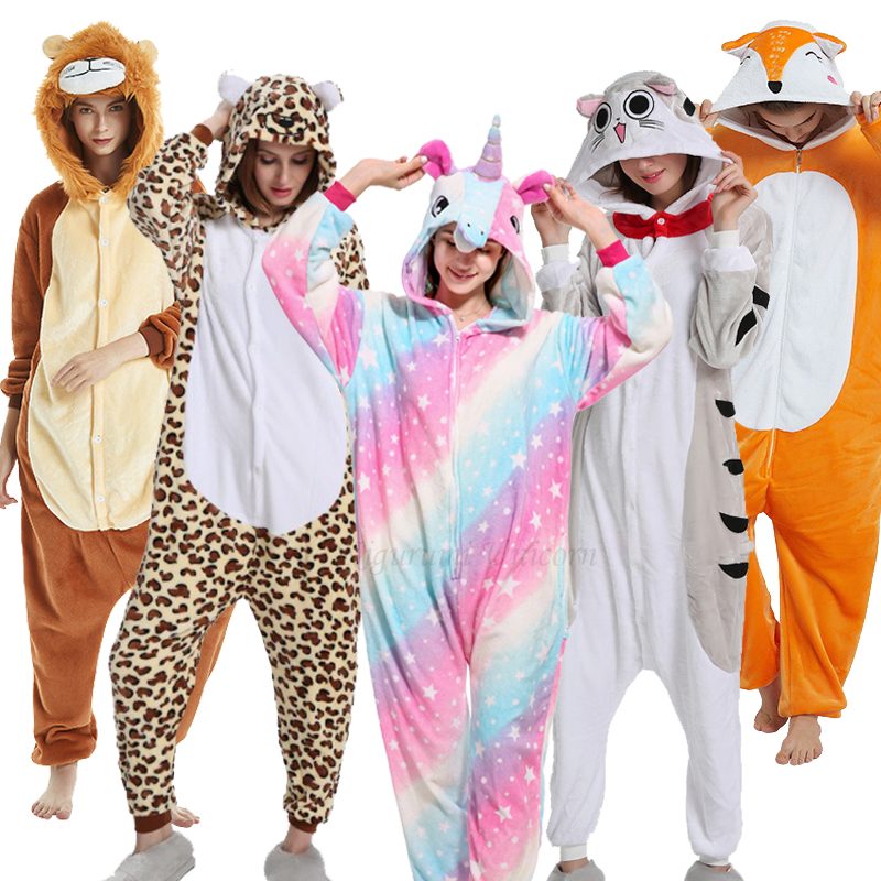 Halloween Kigurumi Unicorn Pajama Adult Animal Cat Onesie Women Men Couple Winter Pajamas Suit Stitch Sleepwear Flannel Pijama