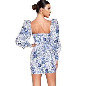 Image 2 - Deer Lady Vintage Dress Women 2019 New Arrivals Sexy Long Sleeve Bodycon Dress White And Blue Floral Mini Dress Sexy Party Club