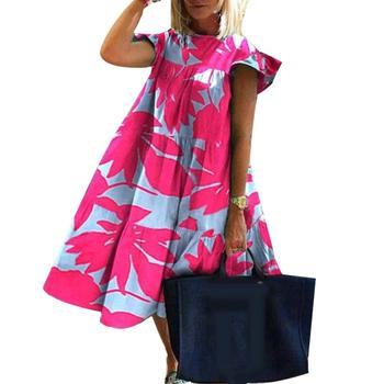 dress women summer Women summer dress O Neck Short Sleeve Floral Print Large Hem A Line Dress vetements femme ete платье летнее random stars print dip hem cocoon dress