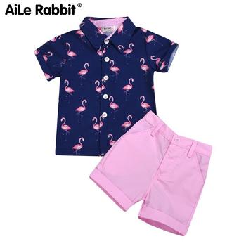 2020 zestaw ubrań dla dzieci odzież dziecięca chłopiec modna koszula spodnie 2 częściowy zestaw INS Firebird Top różowe spodenki granatowy dla chłopców zestaw tanie i dobre opinie AiLe Rabbit Na co dzień Krótki Swetry Drukuj O-neck 309202 REGULAR Płaszcz COTTON Pasuje prawda na wymiar weź swój normalny rozmiar