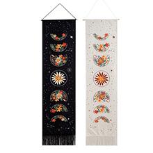 Kwiat i zaćmienie księżyca dekoracyjne gobeliny czeski kwiat fazy księżyca gobeliny ścienne wiszące na ścianę tanie tanio CN (pochodzenie) Poliester Bawełna PRINTED Europejska PLANT wyszywana Rectangle Flower and Lunar Eclipse Decorative Tapestry