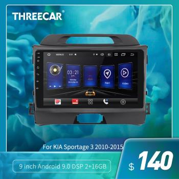 Threecar 2din Android 9 Ouad Core PX6 Car Radio Stereo for KIA Sportage 3 2010-2015 GPS Navi Audio Video Player Wifi HDMI TPMS image
