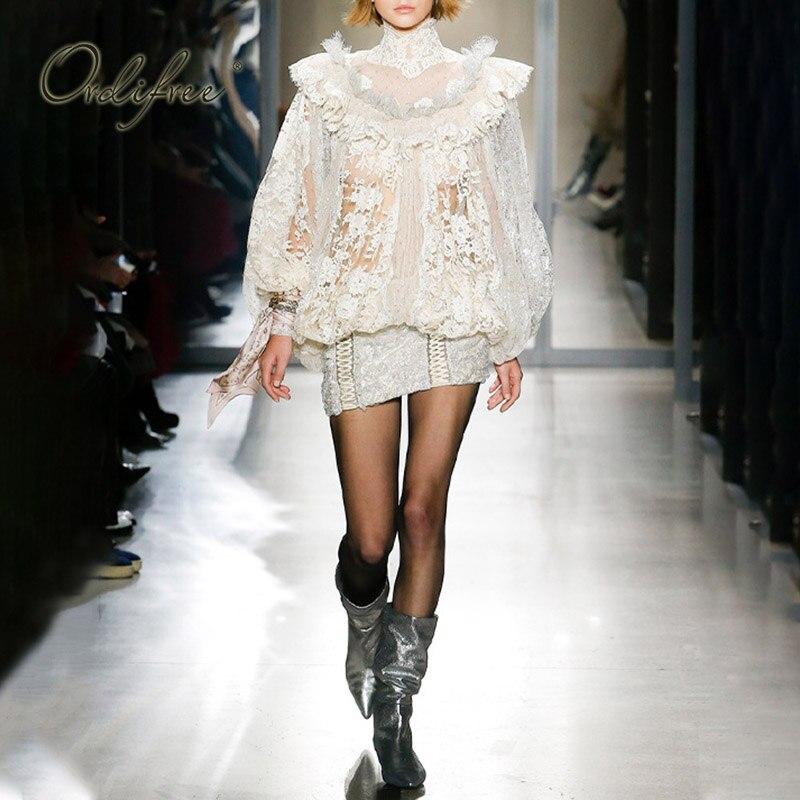 Ordifree 2020 Sommer Luxus Frauen Mini Party Kleid Langarm Polka Dot Mesh Weiß Spitze Vintage Kurzen Kleid - 2